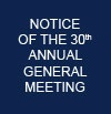 Notice of the 30th Annual General Meeting on Wednesday 25th June, 2014